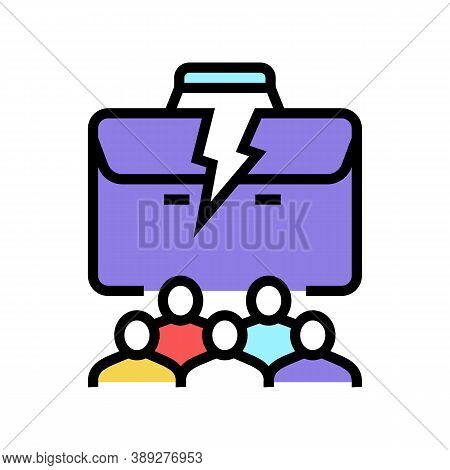 People Lost Job Color Icon Vector. People Lost Job Sign. Isolated Symbol Illustration