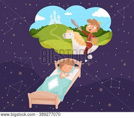 Baby Dreams. Sleeping Children Dreaming Clouds Vector Cartoon Illustrations. Sleep Baby Dream Cartoo