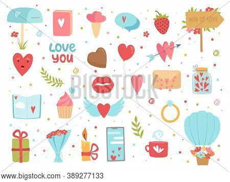 Love And Friendship Icons. Happy Community And Relationship Romance Images Hearts Flowers Vector Con