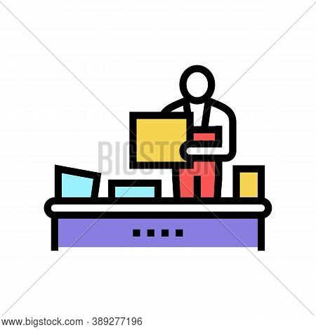 Recycling Plant Worker Sorting Garbage Color Icon Vector. Recycling Plant Worker Sorting Garbage Sig