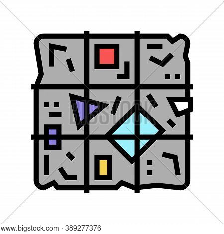 Sorted Garbage Cube Color Icon Vector. Sorted Garbage Cube Sign. Isolated Symbol Illustration