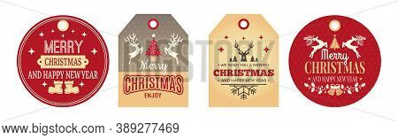 Christmas Tags. Festive Labels, Holiday Badges For Clothes, Gifts Cards Vector Set. Tag Label Christ