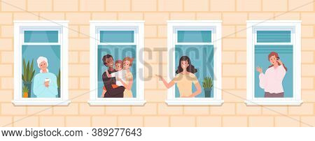 International Neighborhood. Multicultural Neighbors, Cute People Look Out From Windows. Family Old W