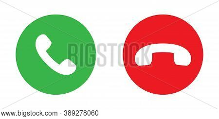 Accept And Decline Phone Icons. Isolated Green And Red Buttons. Answer And Reject Symbol. Round Mobi