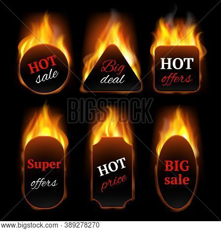 Hot Special Offers. Promo Banners With Fire Flame Vector Realistic Templates. Illustration Hot Offer