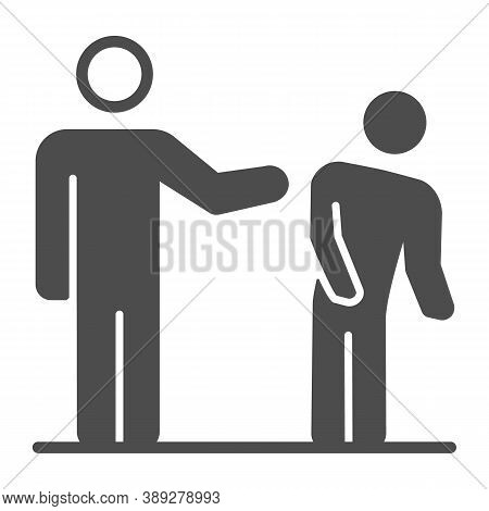 Silhouette Of White Man Kick Black Man Solid Icon, Black Lives Matter Concept, Blm Racial Fight Sign