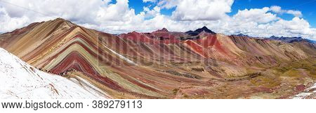 Rainbow Mountains Or Vinicunca Montana De Siete Colores With People, Cuzco Region In Peru, Peruvian