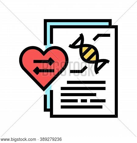 Dna Research For Heart Transplant Color Icon Vector. Dna Research For Heart Transplant Sign. Isolate