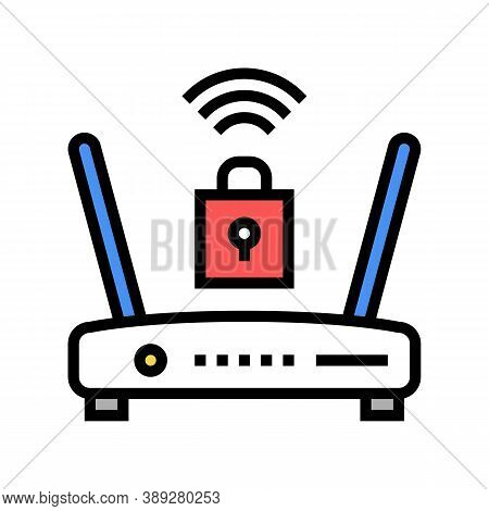 Wifi Router Lock Color Icon Vector. Wifi Router Lock Sign. Isolated Symbol Illustration