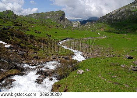 Panorama Of Torrent Stream,  A Green Valley In Alps Mountains
