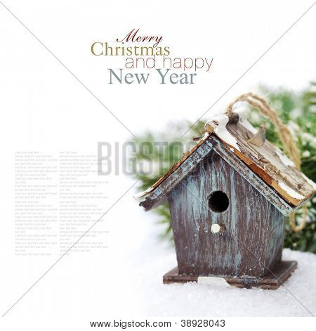Bright christmas composition with small birdhouse (with easy removable sample text)