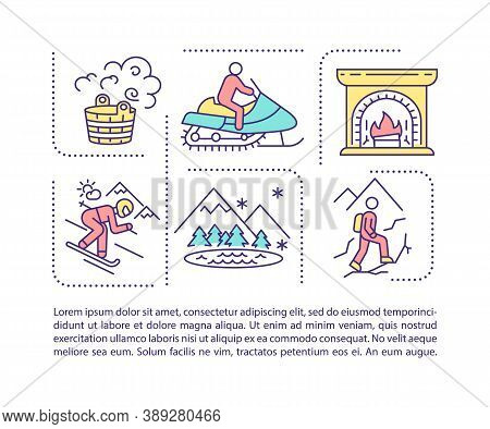 Winter Spending Time Concept Icon With Text. Alpine Skiing Resort. Mountains Trip. Ppt Page Vector T