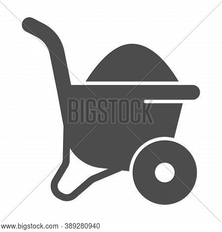 Sand In Wheelbarrow Solid Icon, House Repair Concept, Sand Trolley Sign On White Background, Constru