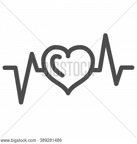 Electrocardiogram Line Icon, Medical Tests Concept, Heart Beat Sign On White Background, Heartbeat E
