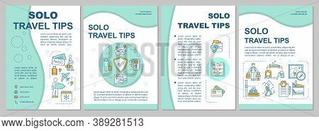 Solo Travel Tips Brochure Template. Winter Holiday. Mountain Trip. Flyer, Booklet, Leaflet Print, Co