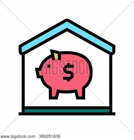 Finance Pig Money Box At Home Color Icon Vector. Finance Pig Money Box At Home Sign. Isolated Symbol
