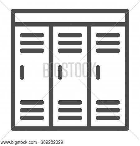 Gym Wardrobes Line Icon, Gym Concept, Lockers Sign On White Background, Sport Dressing Room Icon In
