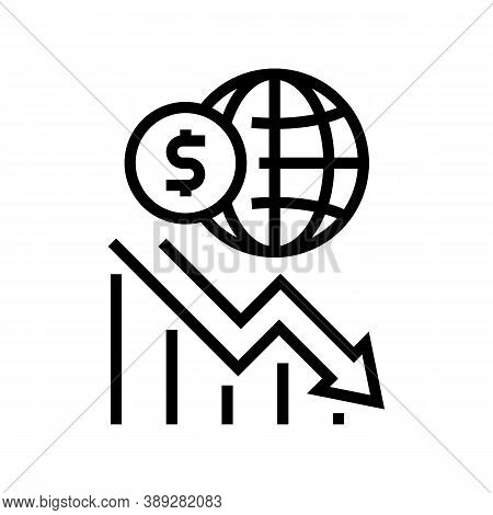 Worldwide Economy Crisis Line Icon Vector. Worldwide Economy Crisis Sign. Isolated Contour Symbol Bl