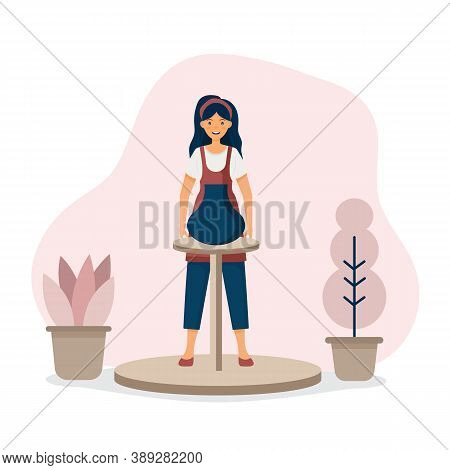 Ceramic Craft Master, Ceramics Pottery. The Girl Is Engaged In Pottery. Clay Crafting. Work On The P