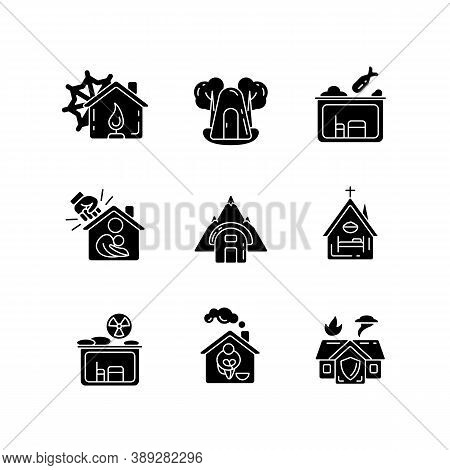 Human Shelters Black Glyph Icons Set On White Space. Temporary Residence For Homeless People. Night