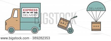 Express Delivery Truck. Hand Truck And Parachute Delivery. Shipping Method Collection. Lorry And For
