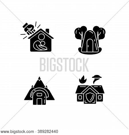 Temporary Safe Residence Black Glyph Icons Set On White Space. Domestic Violence Victims Support. Si