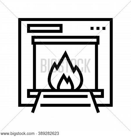 Burning Garbage Machine Line Icon Vector. Burning Garbage Machine Sign. Isolated Contour Symbol Blac
