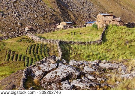 Small Home Building In Vilcanota Mountains Or Ausangate Mountains, Peruvian Andes