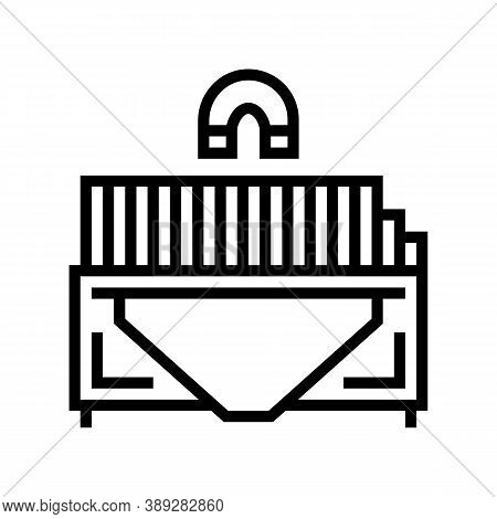 Sorting Metal Garbage Machine Line Icon Vector. Sorting Metal Garbage Machine Sign. Isolated Contour