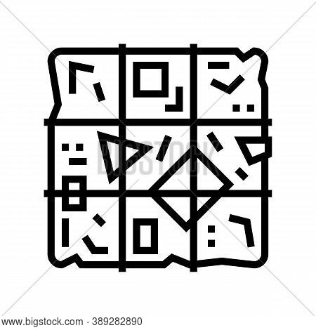 Sorted Garbage Cube Line Icon Vector. Sorted Garbage Cube Sign. Isolated Contour Symbol Black Illust