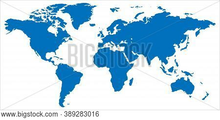 World Map In Blue. Globe Symbol In Flat Design. Planet Silhouette. Earth With Continents On White Ba