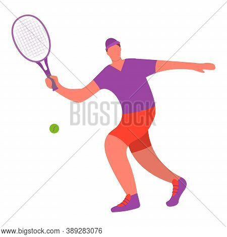 Tennis Player Man Hitting Ball With Racket.healthy Lifestyle.a Male Athlete Doing Sport.