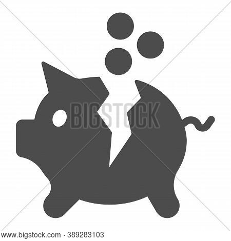 Broken Piggy Bank With Coins Solid Icon, Payment Problem Concept, Moneybox Sign On White Background,