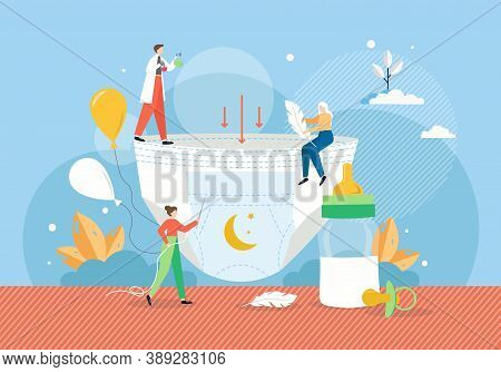 Disposable Baby Diaper Manufacturing, Flat Vector Illustration. People Making Soft, Light, Absorbent
