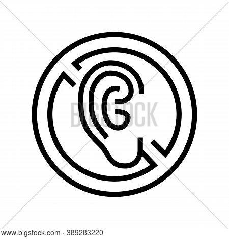 Deaf Sign Line Icon Vector. Deaf Sign Sign. Isolated Contour Symbol Black Illustration