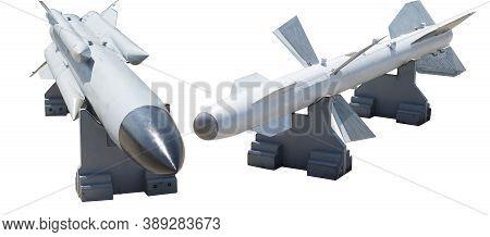 Combat Missile Isolated On White Background. Two Different Combat Missiles On A White Isolated Backg