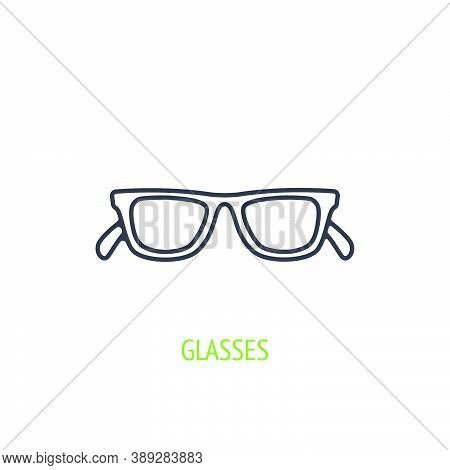 Sunglasses With Plastic Rimmed Outline Icon. Vector Illustration. Summer Accessory. Eyewear For Prot