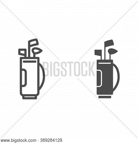 Stick Bag Line And Solid Icon, Golf Concept, Golf Clubs In Bag Sign On White Background, Bag For Gol