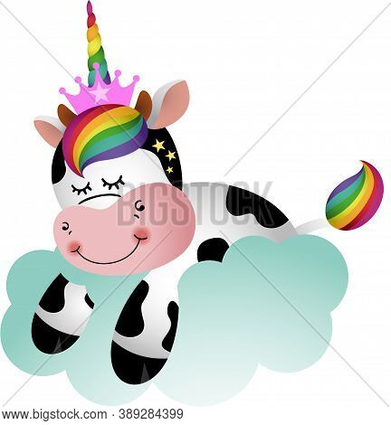 Scalable Vectorial Representing A Cute Cow With Unicorn Horn On Cloud, Element For Design, Illustrat