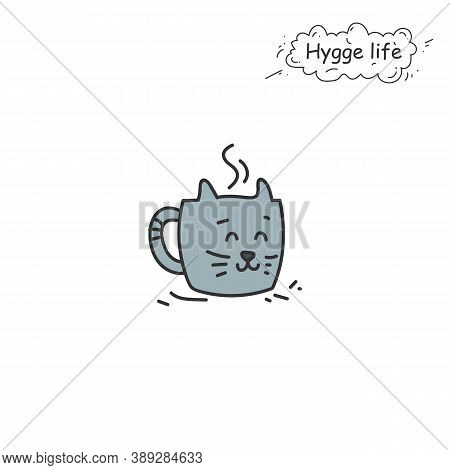 Cute Mug With Cat Muzzle Color Icon. Coziness, Hominess Atmosphere In Simple Things. Hygge Life. Coz