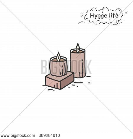 Ceramic Candles Color Icon. Coziness, Hominess Atmosphere In Simple Things. Hygge Life. Cozy Home Co