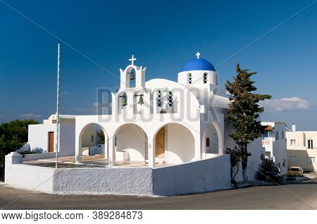 Churches With Blue Roofs. Unique Santorini Architecture, Beautiful Buildings