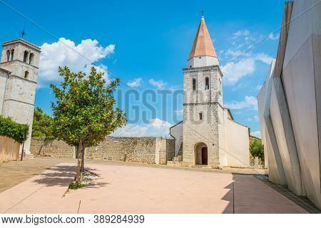 Square Of The Glagolitic Monks With Church Of St Francis, Town Of Krk On The Island Of Krk, Croatia