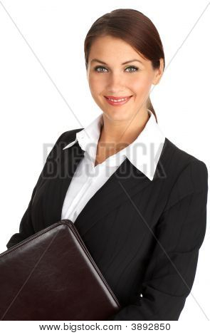 Donna d'affari sorridente