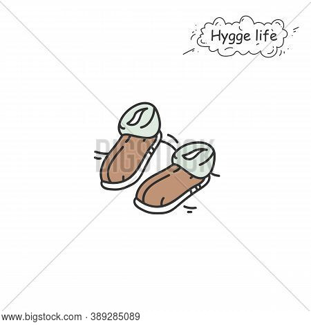 Shearling Slippers Color Icon. Coziness, Hominess Atmosphere In Simple Things. Hygge Life. Cozy Home