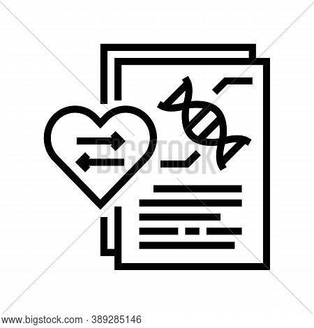 Dna Research For Heart Transplant Line Icon Vector. Dna Research For Heart Transplant Sign. Isolated