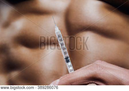 Bodybuilder Strong Man Steroid Syringe Injection Muscles