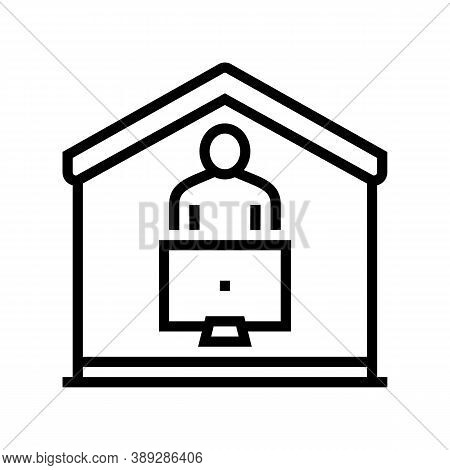 Watch Tv At Home Line Icon Vector. Watch Tv At Home Sign. Isolated Contour Symbol Black Illustration