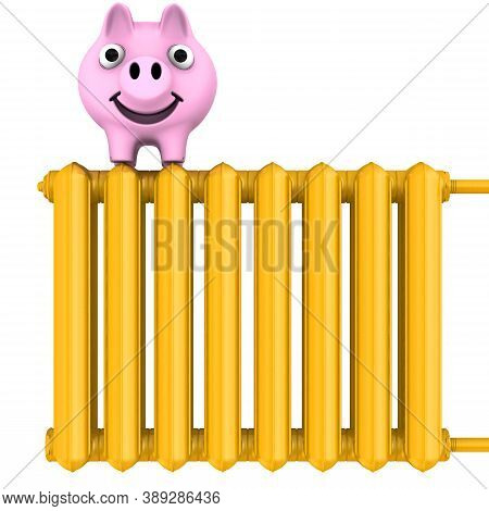 Savings On Heating The Living Space. Energy Saving Concept. Piggy Bank On A Gold Heating Radiator. I