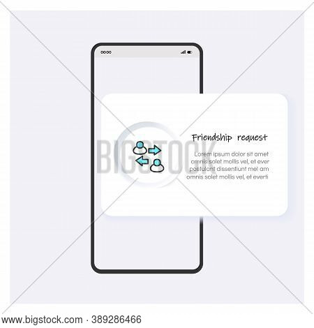 Friendship Request Line Icon Or Button. Mobile App Template Design. Users Connection Request. Modern